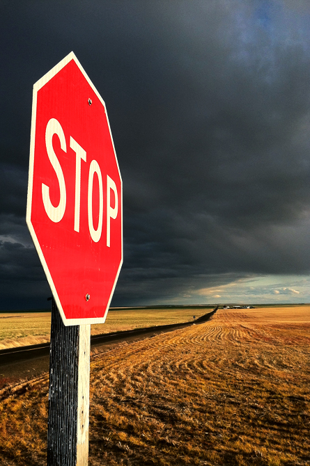 Stop Sign Palouse Falls WA by Eric Simpson